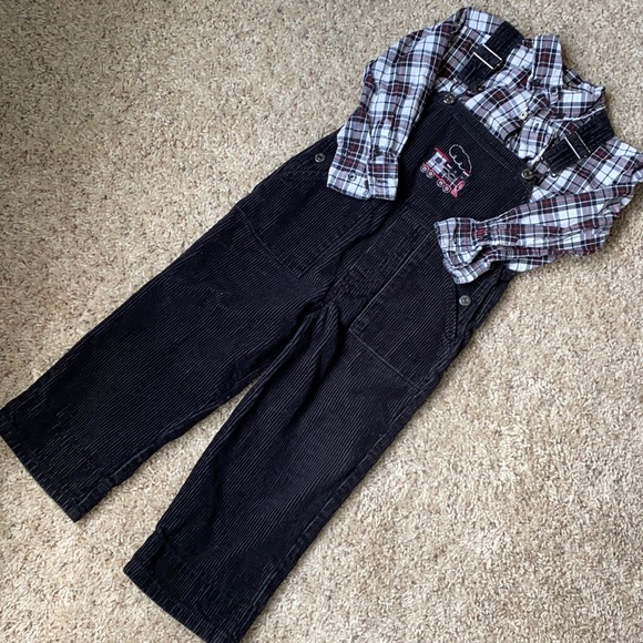 The Children's Place Plaid Shirt & Overalls